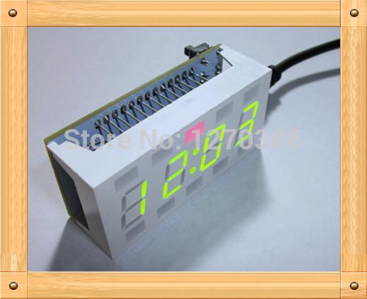 Free Shipping!!! 51 single DIY electronic production suite / White Desktop electronic clock(China (Mainland))