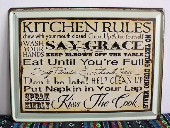 kitchen rules say grace vintage signs metal plaques for bar pub decor
