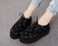 autumn 2014 new harajuku print eyes women shoes casual creepers black flat shoe 588-32 free shipping