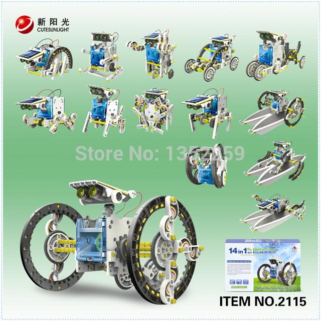 Free shipping,Fourteen-one solar robot,DIY solar toys,Assembling toys,gift for children(China (Mainland))