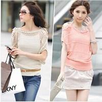 2014 plus size clothing strapless short-sleeve shirt batwing sleeve short-sleeve sweater cutout loose sweater