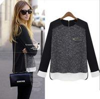 2014 New autumn plus big size  Women blouse Shirt  Fashion long sleeve shirt Tops Work Wear Vintage Black Zipper Split Blouse