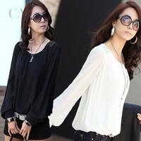 2014 New Autumn Fashion Plus Size S-XXX Women Loose Puff Sleeve Long Sleeved Chiffon Blouse Base Shirt  Blusas Femininas