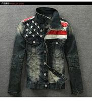 2014 Fashion Casual Men's Retro Denim Motorcycle Jean Jacket Coat 117