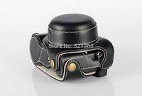 Black Genuine Leather Camera Case Pouch for Panasonic GX7 GX-7 (Lens range: X14-42 mm Power Zoom)