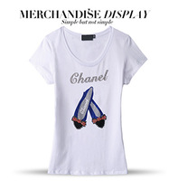 Women  Tops Fashion 2014 Europe And The United States Style Female Short Sleeves Dress Diamond Luxury Heavy Metal T-shirt Women