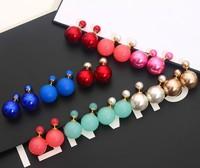 New Fashion Paragraph Hot Selling Earrings 2014 Double Side Shining Pearl(16mm) Stud Earrings Big Pearl Earrings For Women