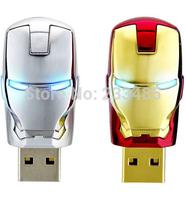 Hot Latest design 8GB 16GB 32GB 64GB Iron Man with LED Flash Light USB flash drive memory stick Ironman pen drive Free Shipping