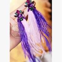 Thailand tide brand 77 * TH goddess dream colour crystal powder purple ostrich feather tassels Long thin face earrings