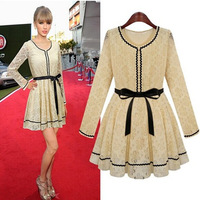 2014 Autumn New European stations Women Slim Thin Temperament Lace Lace Fashion Long-sleeved Dresses