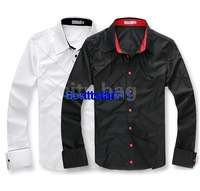 Fashion Men's Casual Shirts Slim Fit Stylish Cotton Long Sleeve Male Dress Shirts Luxury White/Black M L XL