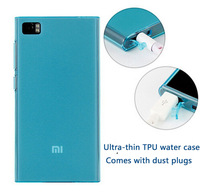 Mi3 tpu case for xiaomi m3 scrubs tpu soft shell transparent water case with dust plug ultra-thin silicone case xiaomi mi3 cover