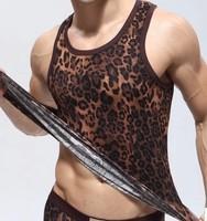 Men's Fashion Leopard  Vest Shirt Corset Sexy Underwear Tank Tops Summer Vest High Quality