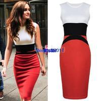 Womens bandage dress Celebrity Patchwork Bodycon Ladies Red Slim Fit Pencil party Dress Plus size S-XXL