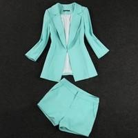 new fashion women OL Mint Green Coral Jacket Blazer +Shorts 2pcs suit lady OL wholesuit Fashion Summer Clothes Set suit blazers