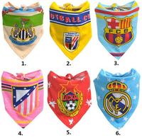 Free shipping 100% cotton football team baby bib baby towel bandanas scarf children cravat triangle towel 2pc/lot