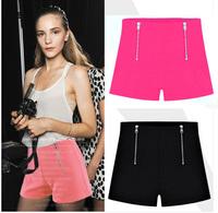 SZ100 2014 New Fashion High-Waist Shorts Women's Candy Colors Zip Decorate Elastic Shorts Casual Summer Short Pants S&Z