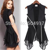 2014 Autumn new XXXL Korean style Ladies Top black white Lace tunic Jacket Chiffon coat cardigan for fall women office work wear