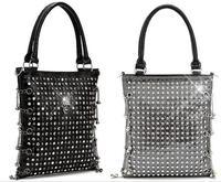 Free Shipping 2014 Euramerican New Women's Fashion Handbags Evening Party Nightclub Bag Diamante Skull Rivet Chain Shoulder Bags