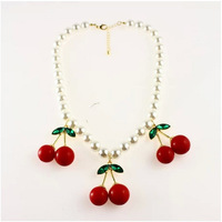 Trading hot sale fashion pearl cherry necklaces lovely girly pearl necklace accessory 2014 latest model pearl neckalce jewelry