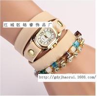 Fashion New Arrivals women dress watches rhinestone leather strap watch wristwatches ladies quartz women long chain luxury