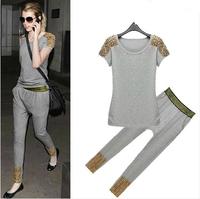 2014 New Clothing Set Women Rivet Decoration Casual Sport Suit Fashion 2psc/set Tracksuit Top+Harem Pants Free Shipping
