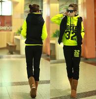3 Pcs Wholesale 2014 New Fashion Women's Hoodies Clothing Set Long Sleeve Sweatshirt Thick Tracksuits Sport Suit Free Shipping