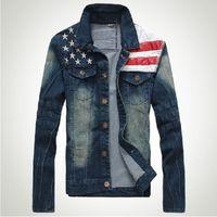 2014 Fashion Men's  USA FLAG Denim Motorcycle Jean Jacket M/L/XL/XXL
