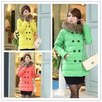 New 2014 winter women Warm thick Long section down jackets abrigos mujer clothing Fur collar plus size coat jaqueta feminina
