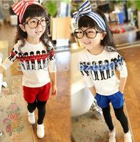 HOT 2014 Spring new female children's clothing Korean female baby child soldiers villain piece suit