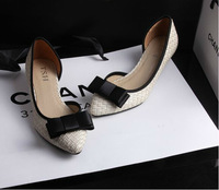 New arrival 2014 women's shoes bow pointed toe shallow mouth small heel brief black with the single shoes  A703-6#