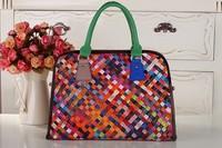 2014 New Women Real Leather SheepSkin Handbag Fashion Woven Patchwork Shoulder Messenger bag Tote Free Shipping