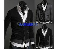 2014 New Fashion Men's Knitwear Premium Stylish Mock Pockets Sweater Slim Casual Knit Coat Cardigan M, L, XL