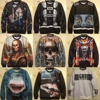 [Magic] men new 3d hoodies high quality figure/Skull/flowers printed hoodie o neck thin sweatshirt men sweatshirts free shipping