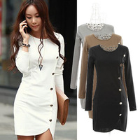 New 2014 fashion sexy slim long sleeve button decoration dress dr072337