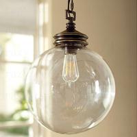 Nordic American retro rustic glass  Square Silver Shade  pendant light 1 lights 25*25*36 cm