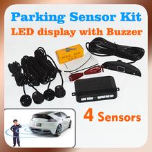 envío gratis sistema de aparcamiento con 4 sensores 22mm + pantalla led + alarma de zumbador, kit auto sensor de aparcamiento sistema de radar(China (Mainland))