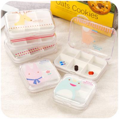 100pcs/lot Cute Square Mini Plastic Pill Box Cartoon Container Kids Jewelry Storage Organizer for Kids tb0251(China (Mainland))