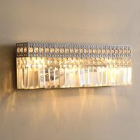 Nordic American retro rustic Crystal Square Silver Shade crystal wall light 3 lights 49*9*16 cm