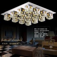 Free shipping,modern square living room lighting led ceiling lamp stainless steel k9 crystal ceiling lamp