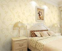 Pastoral mangnolia embroidery non-woven wallpaper for Livingroom_Bedroom
