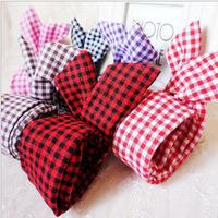12PCS Mix Colors Girls Rabbit Bunny Ear Fabric Headband Hair Band Grid Checked Chequer Headband