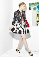 2014 New autumn fashion bouyique women clothing set flower cardigan jacket sweatshirt top coat & puff skirt brand casual twinset