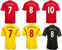 STURRIDGE COUTINHO GERRARD 2015 Liverpool Jersey STERLING SUAREZ 14 15 Liverpool Soccer Jerseys Home Third Away Football t Shirt