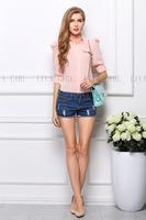 2014 fashion women's fashion solid color turn-down puff sleeve slim chiffon blouse shipping
