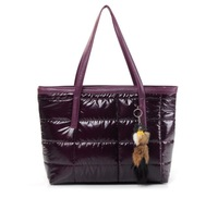 High Quality 2014 New Winter Handbag Women Cotton Handbag Warm Shoulder bag Leisure feather tote bags fox toys pendant