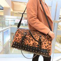 2014 New Winter Women Leopard Handbags Rivet Bag Female Shoulder Crossbody Bags PU Leather and Canvas Big bag