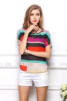 2014 fashion women's fashion Perspective loose colorful large size striped chiffon t-shirt  free shipping