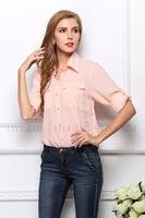 2014 fashion women's fashion large size solid color turn-down big pockets  chiffon blouse  free shipping