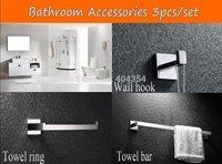 Bathroom Accessories Bath Hardware Set Square Solid SUS 304 S/S  ,Bathroom Towel Ring,Towel Bar,Wall Hook 3 pcs/set